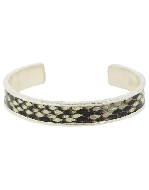 JOHN VARVATOS JEWELRYFINE JEWELBRACELET O SILVER White and Brown Snake Skin Cuff