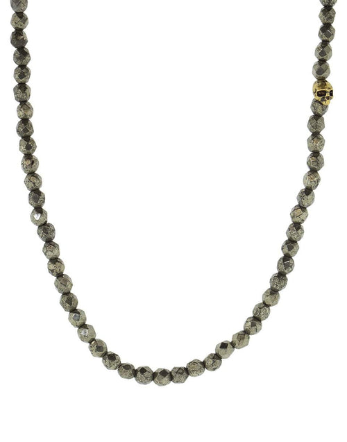 JOHN VARVATOS JEWELRYFINE JEWELNECKLACE O BRASS Pyrite and Brass Skull Bead Necklace