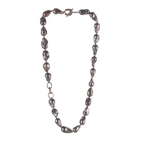 "JORDAN ALEXANDER JEWELRYFINE JEWELNECKLACE O PEACOCK 28"" Pearl and Pave Link Necklace"