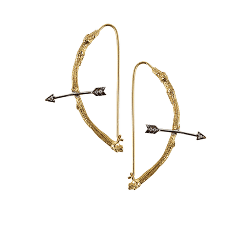 K. BRUNINI JEWELRYFINE JEWELEARRING YLLW GLD Twig and Arrow Hoop Earrings