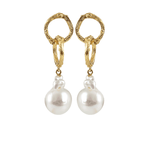 K. BRUNINI JEWELRYFINE JEWELEARRING YLLW GLD Twig Chain Pearl Drop Earrings