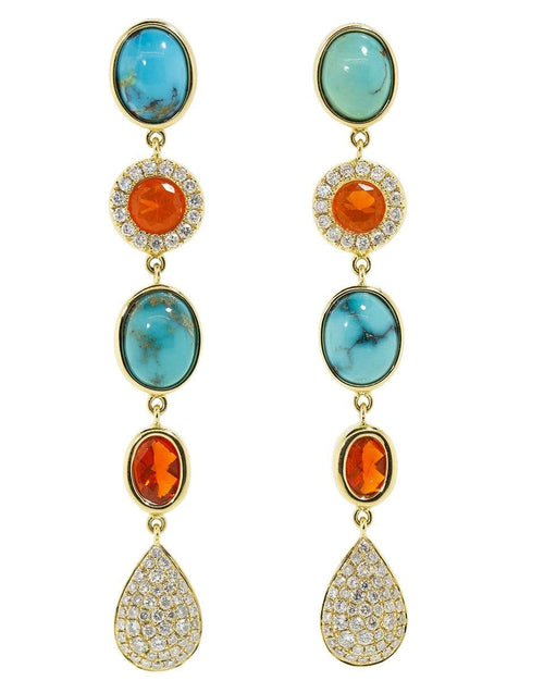 KATHERINE JETTER JEWELRYFINE JEWELEARRING YLWGOLD Five Drop Fire Opal Earrings