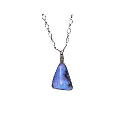 KATHERINE JETTER JEWELRYFINE JEWELNECKLACE O WHTGOLD Boulder Opal Pendant With Moonstone Chain
