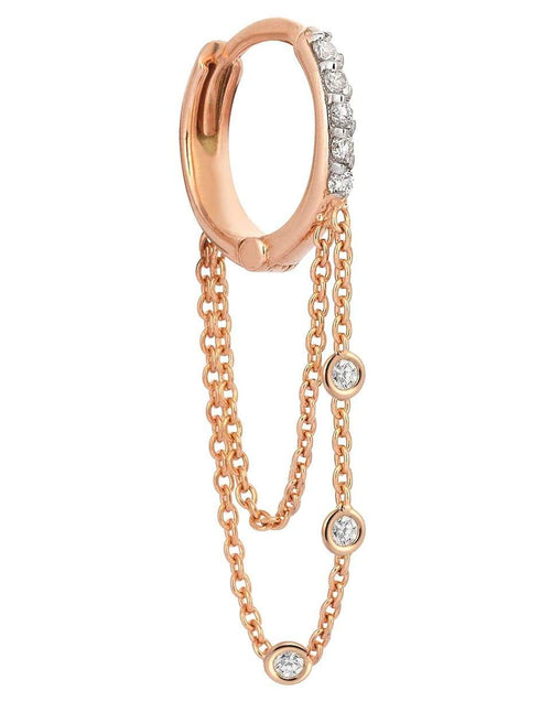 KISMET BY MILKA JEWELRYFINE JEWELEARRING ROSEGOLD Three White Diamond Dangle Chain Earring