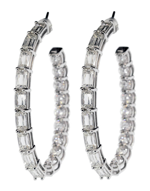 KWIAT JEWELRYFINE JEWELEARRING WHTGOLD Baguette and Round Diamond Hoops