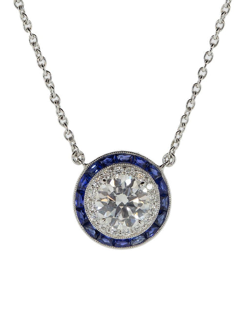 KWIAT JEWELRYFINE JEWELNECKLACE O WHTGOLD Diamond and Sapphire Pendant Necklace