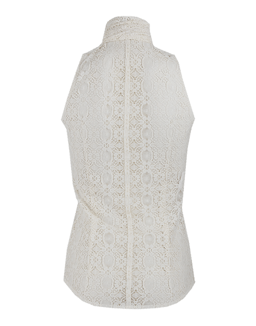 L'WREN SCOTT CLOTHINGTOPBLOUSE Sleeveless Tie-Neck Ruffle-Front Lace Blouse