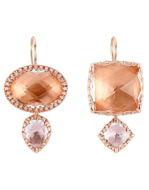 LARKSPUR & HAWK JEWELRYFINE JEWELEARRING ROSEGOLD Bellini and Ballet Pink Sadie Mismatched Double Quartz Drop Earrings