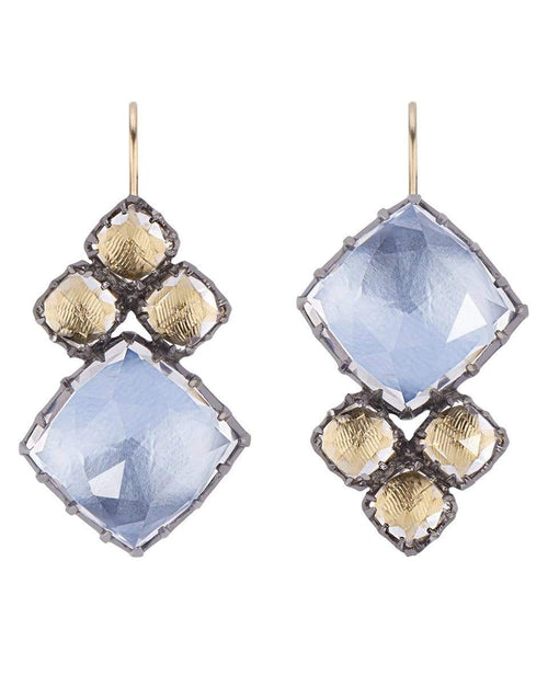 LARKSPUR & HAWK JEWELRYFINE JEWELEARRING SILVER White Quartz Blue and Yellow Sadie Cluster Earrings
