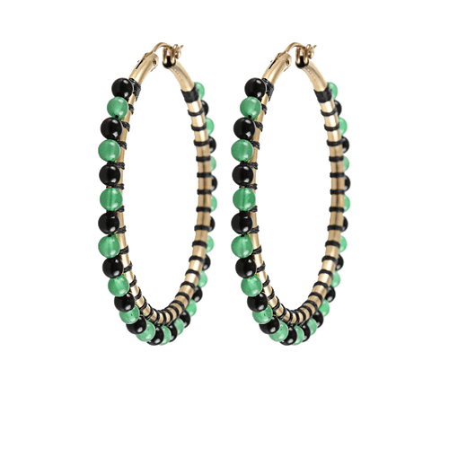 LEVA JEWELRY JEWELRYBOUTIQUEEARRING GOLD Medium Onyx and Chrysoprase Hoops