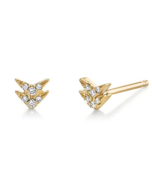 LIZZIE MANDLER JEWELRYFINE JEWELEARRING YLWGOLD White Diamond Pave Double V Single Stud