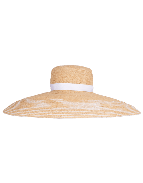 LOLA HATS ACCESSORIEHATS NAT/WHT Straw Hat with White Ribbon