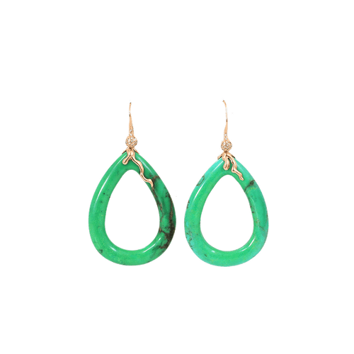 LUCIFER VIR HONESTUS JEWELRYFINE JEWELEARRING ROSEGOLD Green Turquoise And Diamond Earrings