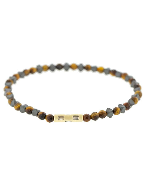 LUIS MORAIS JEWELRYFINE JEWELBRACELET O YLWGOLD Tigers Eye and Diamond Baguette Bracelet