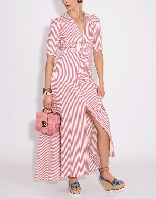 LUISA BECCARIA CLOTHINGDRESSCASUAL Striped Button Down Dress