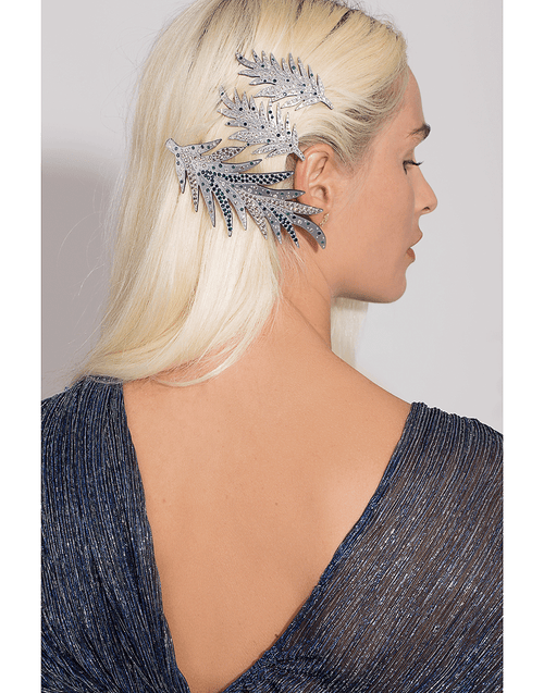 M. C. DAVIDIAN ACCESSORIEMISC GREY Single Feather Hairclip