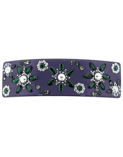M. C. DAVIDIAN ACCESSORIEMISC NAVY Large Barrette with Floral Crystal