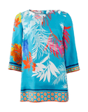 MAISON COMMON CLOTHINGTOPTUNIC TURQ / 38 Abstract Palm Print Tunic