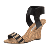 MANOLO BLAHNIK SHOEMISC Cork Wedge With Patent Striped Strap