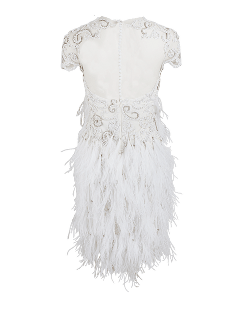 MARCHESA CLOTHINGDRESSCOCKTAIL WHITE / 2 Embroidered Tulle Feather Dress