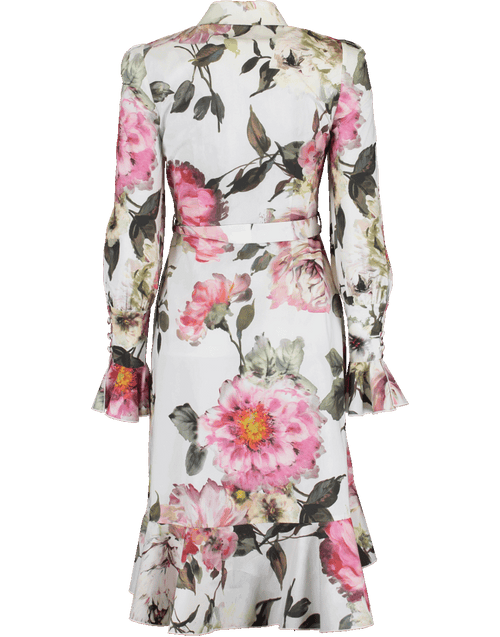 MARCHESA CLOTHINGDRESSEVENING Floral Cotton Hi Low Shirt Dress