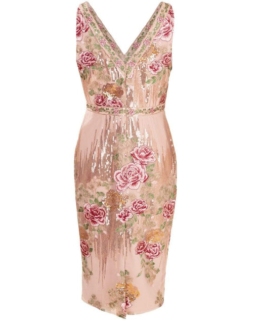 MARCHESA NOTTE CLOTHINGDRESSCOCKTAIL V-Neck Sequin Embroidered Cocktail Dress