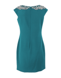 MARCHESA NOTTE CLOTHINGDRESSEVENING Embroidered Neck Silk Sheath Dress