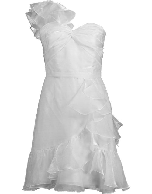 MARCHESA NOTTE CLOTHINGTRUNKSHOW IVORY / 6 One Shoulder Organza Cocktail Dress
