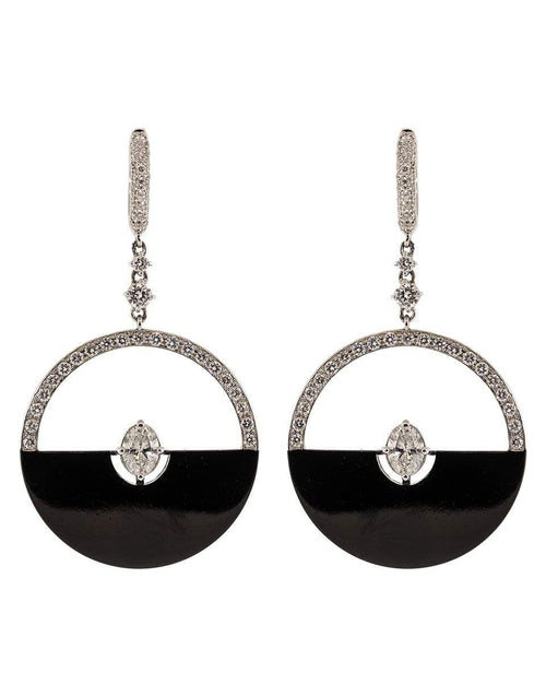MARIANI JEWELRYFINE JEWELEARRING WHTGOLD Black Half Moon and Diamond Earrings