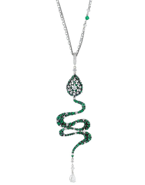MARIANI JEWELRYFINE JEWELNECKLACE O WHTGOLD Emerald and Diamond Snake Necklace