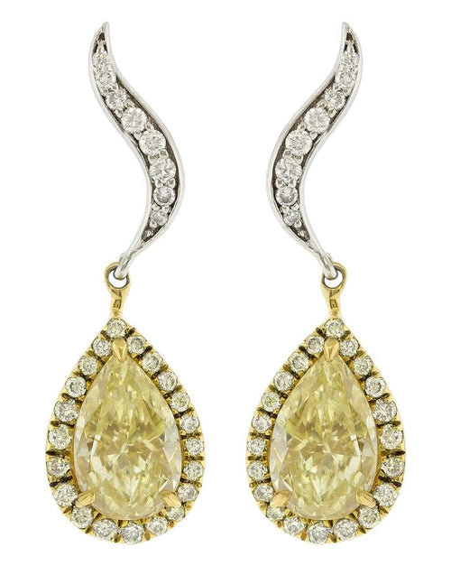 MARISSA DIAMONDS JEWELRYFINE JEWELEARRING WHTGOLD Yellow and White Diamond Mix Shape Earrings