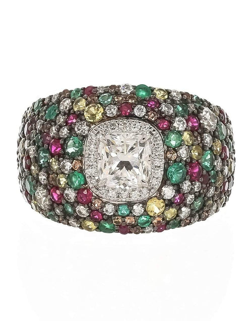MARISSA DIAMONDS JEWELRYFINE JEWELRING WHTGOLD / 6.75 Radiant Diamond and Multi-Sapphire Ring