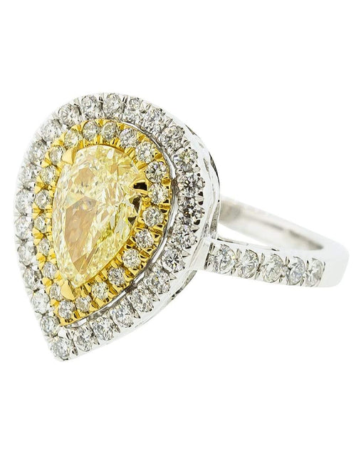Single Row Yellow Pear Shape Diamond Ring