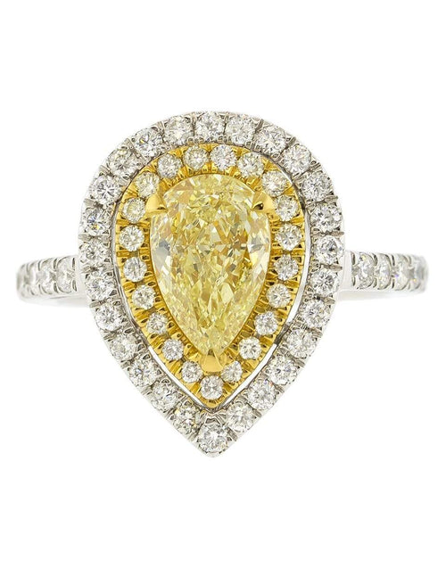 MARISSA DIAMONDS JEWELRYFINE JEWELRING WHTGOLD / 7 Single Row Yellow Pear Shape Diamond Ring