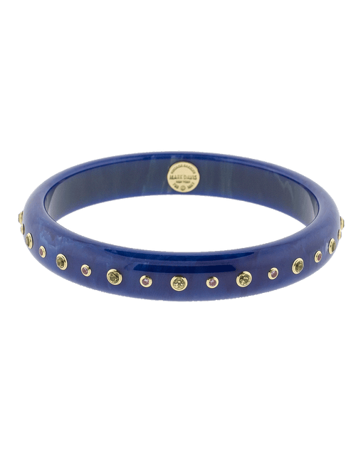 MARK DAVIS JEWELRYFINE JEWELBRACELET O YLWGOLD Blue Bakelite Bangle