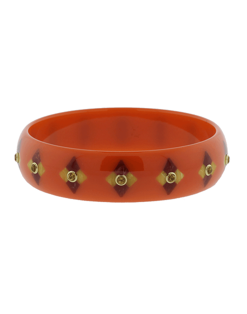 MARK DAVIS JEWELRYFINE JEWELBRACELET O YLWGOLD Orange Brown And Red Bakelite Bangle