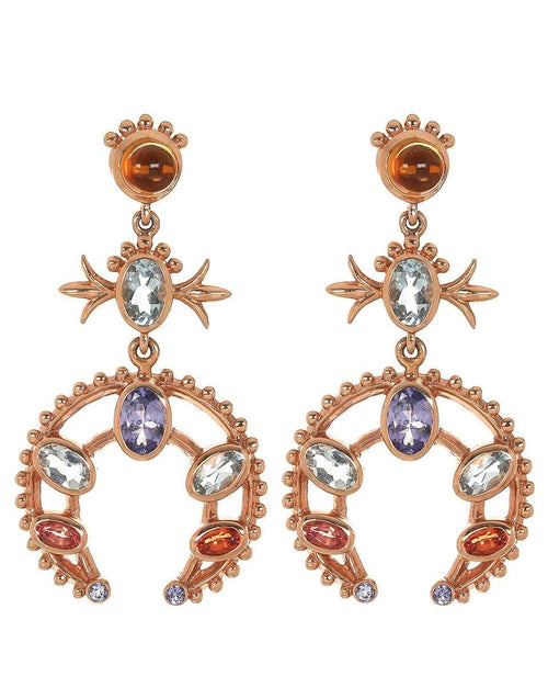 MARLO LAZ JEWELRYFINE JEWELEARRING ROSEGOLD Squash Blossom Tanzanite and Aquamarine Earrings