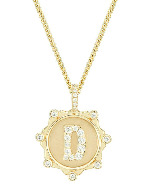 MARLO LAZ JEWELRYFINE JEWELNECKLACE O YLWGOLD Pave Diamond D Initial Coin Necklace