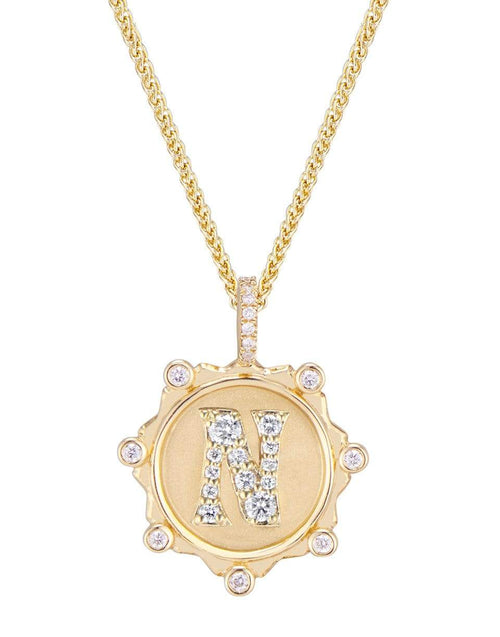 MARLO LAZ JEWELRYFINE JEWELNECKLACE O YLWGOLD Pave Diamond N Initial Coin Necklace