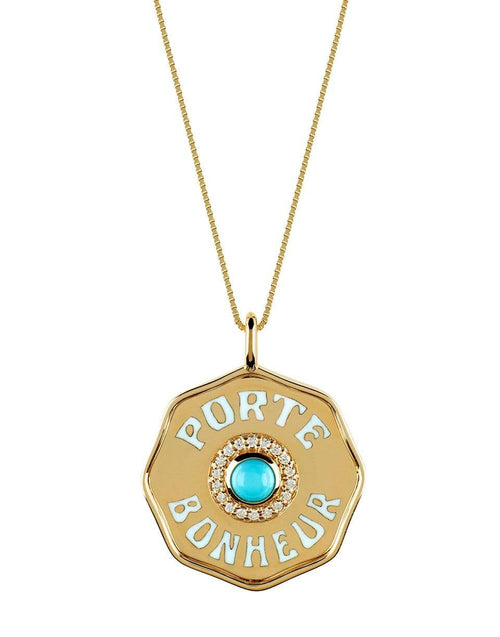 MARLO LAZ JEWELRYFINE JEWELNECKLACE O YLWGOLD Porte Turquoise and Diamond Coin Necklace