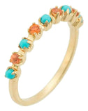 MARLO LAZ JEWELRYFINE JEWELRING YLWGOLD / 7 Full Circle Turquoise and Orange Band