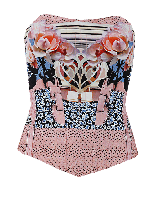 MARY KATRANTZOU CLOTHINGTOPMISC PINK/MIX / 4 Strapless Powdy Corset Top
