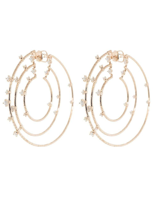 MATTIA CIELO JEWELRYFINE JEWELEARRING ROSEGOLD Rugiada Triple Diamond Echo Hoops