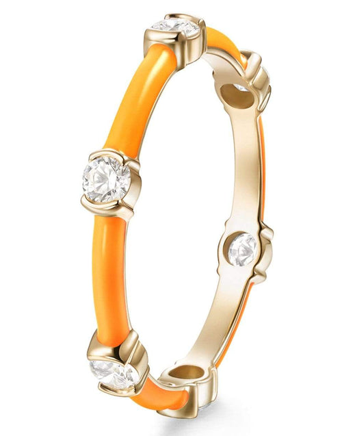 MELISSA KAYE JEWELRYFINE JEWELRING YLWGOLD Neon Orange Zea Ring