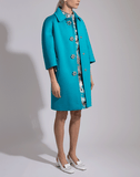 MICHAEL KORS COLLECTION CLOTHINGCOATMISC TURQ / 8 Scuba Jersey Balmacaan Coat