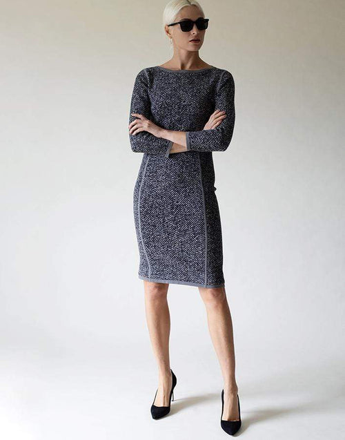 MICHAEL KORS COLLECTION CLOTHINGDRESSCASUAL GRAY / M Jacquard Tweed Dress