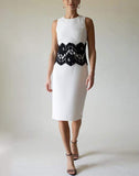 MICHAEL KORS COLLECTION CLOTHINGDRESSEVENING WHITE / 6 Sleeveless Lace Waist Sheath Dress