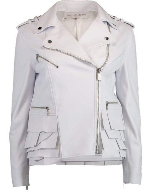 MICHAEL KORS COLLECTION CLOTHINGJACKETMISC Peplum Ruffle Moto Jacket