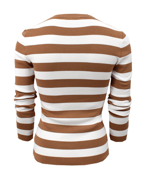 MICHAEL KORS COLLECTION CLOTHINGTOPKNITS Striped Long Sleeve Crew