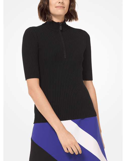 MICHAEL KORS COLLECTION CLOTHINGTOPKNITS Zip Front Mock Neck Top